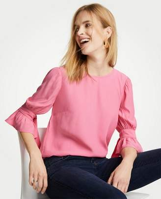 Ann Taylor Petite Shirred Bow Sleeve Top