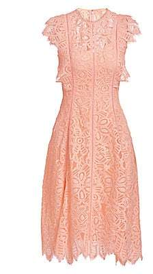 Lela Rose Women's Cap Sleeve Lace A-Line Dress