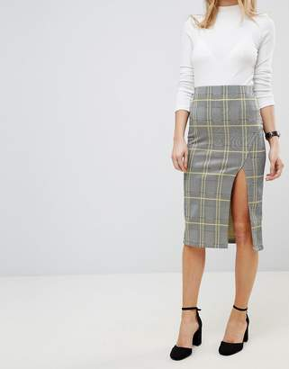 Asos DESIGN Pencil Skirt with Thigh Split in Check