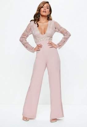 Missguided Mauve Plunge Crochet Lace Flare Romper
