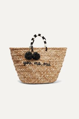 Kayu St Tropez Pompom-embellished Woven Straw Tote - Beige