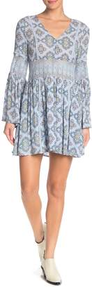 Moon River Crochet Lace Knit Pattern Print Woven Dress