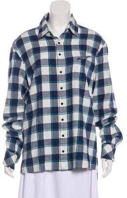 Baja East Plaid Long Sleeve Button-Up Top