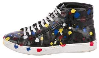Christian Dior 2016 Paint-Splatter High-Top Sneakers