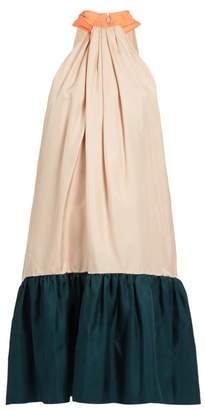 Roksanda Eliva Hatlerneck Silk Twill Dress - Womens - Light Pink