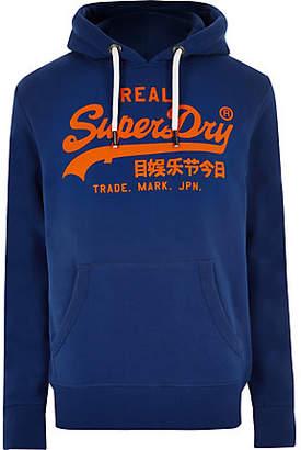 River Island Superdry blue vintage logo print hoodie