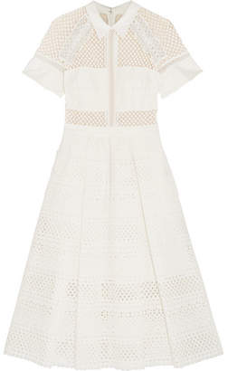 Self-Portrait - Broderie Anglaise Cotton Midi Dress - White $330 thestylecure.com