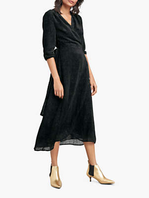 Hush Wrap Devore Dress, Black