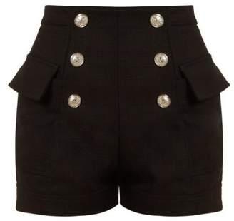 Balmain High Waist Cotton Shorts - Womens - Black