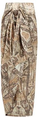 Edward Crutchley Raja Print Lame Wrap Skirt - Womens - Brown Multi