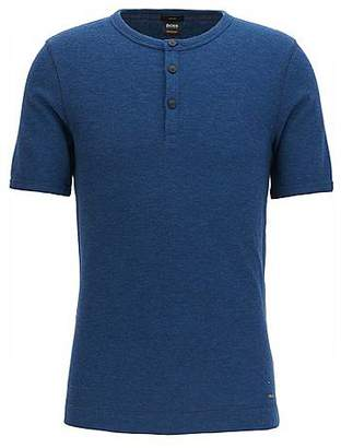 HUGO BOSS Slim-fit Henley T-shirt in heathered cotton