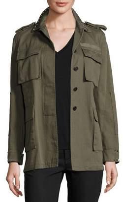 Valentino Rockstud-Trim Field Jacket, Olive