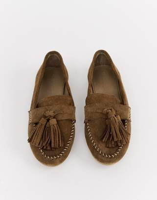 Asos Design DESIGN Marco leather moccasin flat shoes
