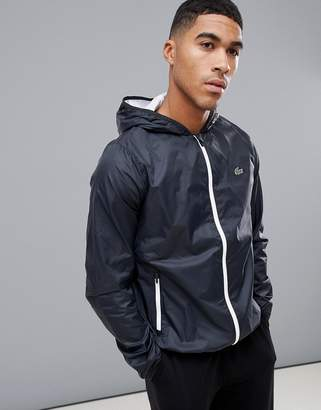 Lacoste Sport hooded zip through light weight jacket in black