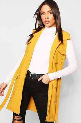 boohoo Boucle Double Pocket Belted Jacket