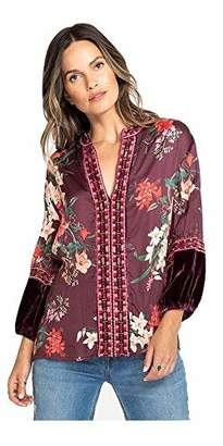 3J Workshop by Johnny was Women's Red Printed Blouse with Velvet Detail