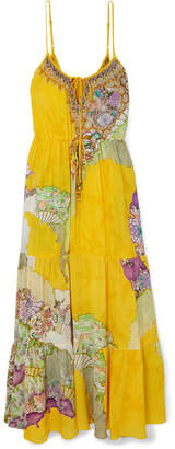 Camilla Tiered Embellished Printed Silk Crepe De Chine Maxi Dress - Bright yellow