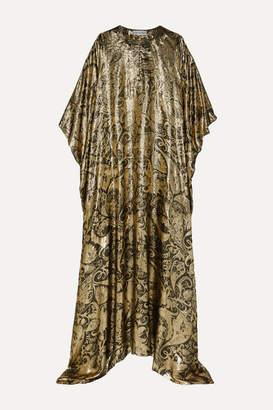Oscar de la Renta Draped Metallic Silk-blend Brocade Gown - Gold
