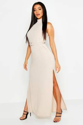 boohoo Rib Belted High Neck Double Split Maxi Dress