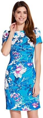 Adrianna Papell Womens Blue Floral Printed Twill Dress - Blue