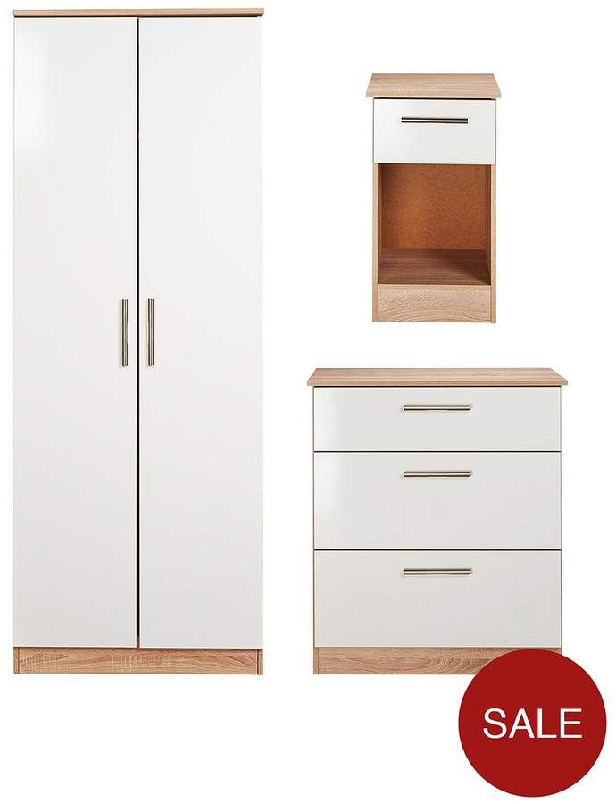 SWIFT Montreal Gloss 3-piece Ready Assembled Package – 2-Door Wardrobe, 3-Drawer Chest And Bedside Table