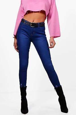 Damen Abby Schmal geschnittene Jeans mit hohem Bund und ausgefranstem