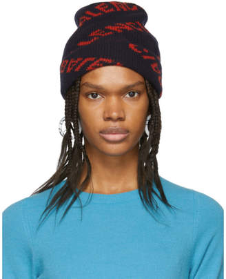Balenciaga Navy and Red Jacquard Logo Beanie