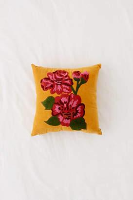 Rosa Embroidered Velvet Throw Pillow