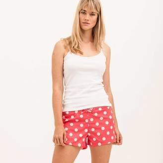 PJ Pan Women's Watermelon Red Cotton Poplin Bed Shorts