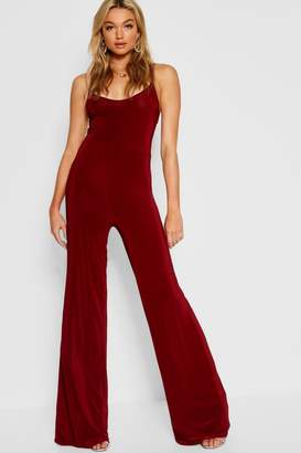boohoo Tall Bella Plunge Wide Leg Jumpsuit