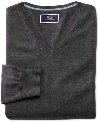 Charles Tyrwhitt Charcoal Merino Wool V-Neck Sweater Size Small