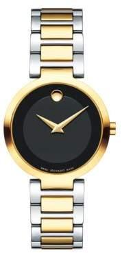 Movado Modern Classic Two-Tone Round Case Stainless Steel Bracelet Quartz Analog Watch