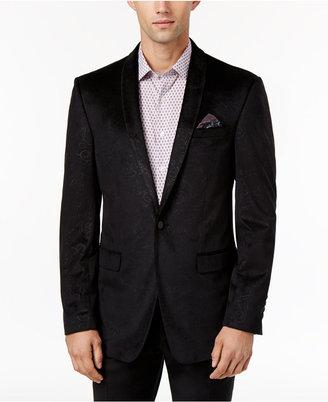 Tallia Men's Slim-Fit Black Tonal-Paisley Velvet Sport Coat $350 thestylecure.com