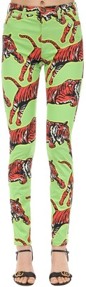 Gucci Tiger Print Cotton Denim Jeans