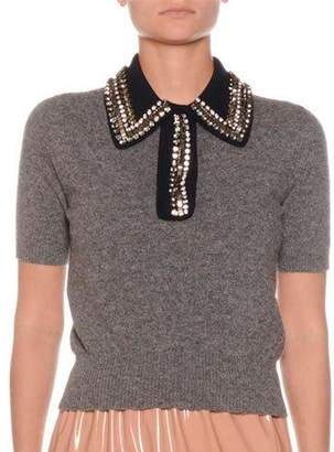 No.21 No. 21 Cropped Short-Sleeve Top with Embellished Collar