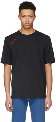 Helmut Lang Black Logo Cut Neck T-Shirt