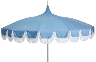 One Kings Lane Aya Pagoda Fringe Patio Umbrella - Light Blue