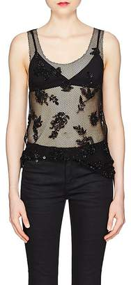 Saint Laurent Women's Floral Embellished Mesh Tank
