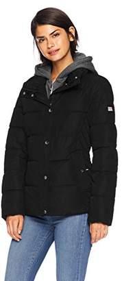 Tommy Hilfiger Women's Short Down Alternative Jacket with Zipout Fleece Hood,S