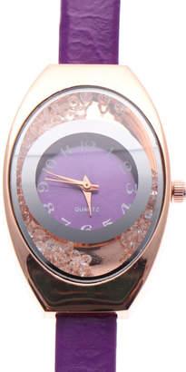 スマイルプロジェクト SMILE PROJECT 上品なオーバルケースの腕時計 エナメルPUベルトにラインストーンのラグジュアリーウォッチ PPL