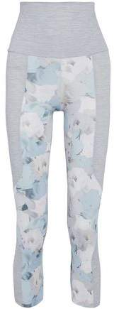 Live The Process Cropped Paneled Floral-Print Stretch-Supplex Leggings