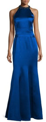 Kay Unger New York Embellished Halter-Neck Mermaid Gown, Sapphire $570 thestylecure.com