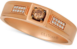 LeVian Le Vian Men's Diamond Ring (1/4 ct. t.w.) in 14k Rose Gold