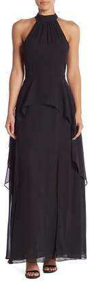 Lumier Janet Bib Neck Chiffon Maxi Dress