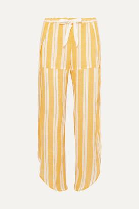 Lemlem Net Sustain Doro Fly Away Asymmetric Striped Cotton-blend Gauze Pants - Yellow