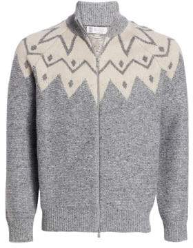 Brunello Cucinelli Jacquard Full-Zip Cashmere Sweater