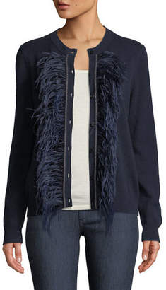 Neiman Marcus Feather-Trim Cashmere Cardigan
