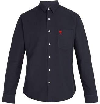Ami Logo Embroidered Cotton Shirt - Mens - Navy