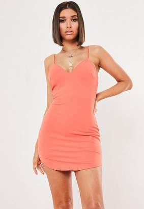 Missguided Petite Coral Strappy Plunge Bodycon Dress