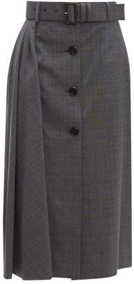 Prada Prince Of Wales Checked Wool Blend Midi Skirt - Womens - Grey